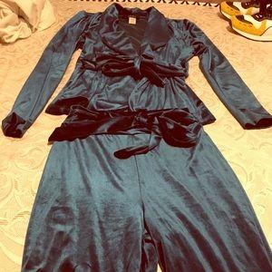 Turquoise velvet 2 piece blazer set